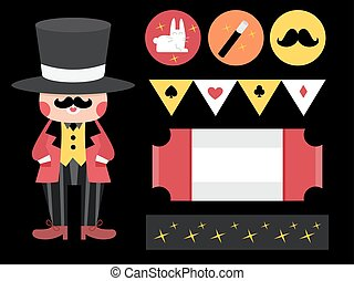 Magician Design Elements Party Printables - Illustration...