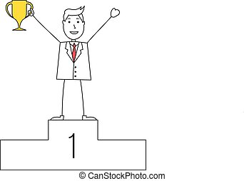 Cartoon man in suit with a trophy