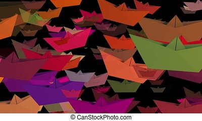 Paper boats in various colors on black