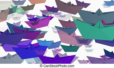 Paper boats in various colors on white
