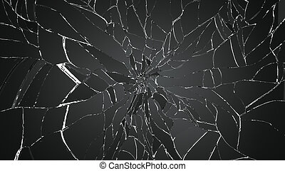 Many pieces of shattered glass on white background Large...