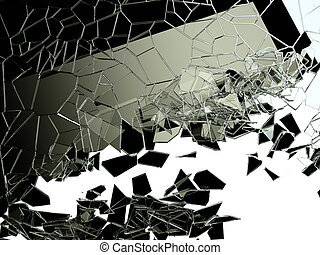 Pieces of cracked glass on white Large resolution