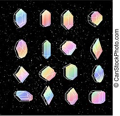 Set of non-linear crystals - Set space crystals for T-shirts...
