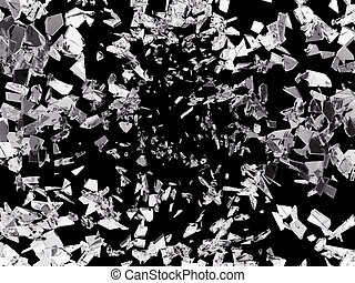 Pieces of splitted or cracked glass on black Large...