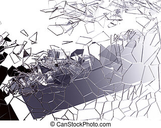 Pieces of splitted or cracked glass on white. Large...