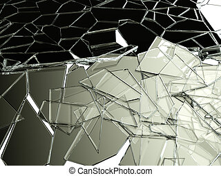 Pieces of splitted or cracked glass on white Large...