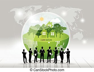 Businessman with infographics template and Green Eco Earth. Vector illustration.
