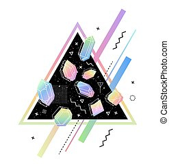 Set of non-linear crystals - Space Triangle with crystals...