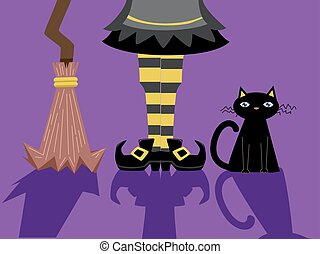 Witch Feet Broom Cat Shadows - Illustration of a Witch...