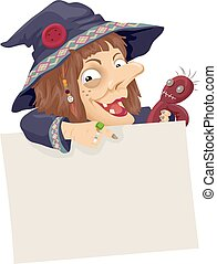 Witch Voodoo Doll Board Point - Illustration of a Witch...