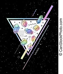 Set of non-linear crystals - Vector Space Triangle with...