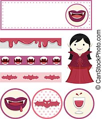 Vampire Girl Party Design Elements Printables - Illustration...