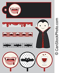 Vampire Boy Party Design Elements Printables - Group...