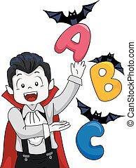 Vampire Kid Boy Bats Alphabet