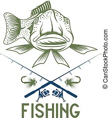 vintage funny fishing vector design template