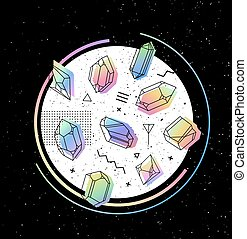 Set of non-linear crystals - Space Vector circle with...