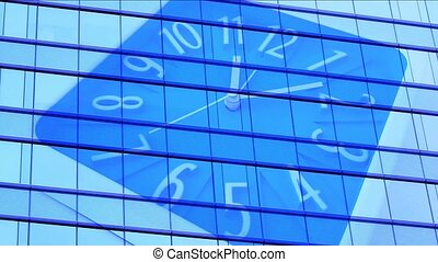 Abstract clock with office windows building background