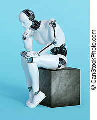 Robot man in thinking pose. - A male robot sitting and...