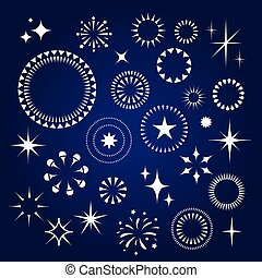 Starburst, stars and sparkles burst icons set