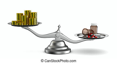 Medicines and money on scales Isolated 3D image