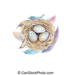 Hand drawn watercolor art bird nest with eggs , easter...