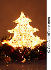 Christmas Decoration - surrounded Christmas tree lightened...