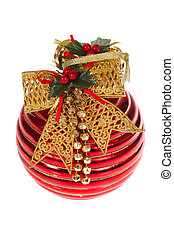 Red Glass Ball - Christmas Decoration photo on the white...