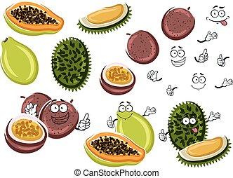 Papaya, maracuja and durian fruits - Cartoon aroma papaya,...