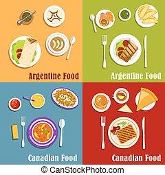canadiense, y, argentino, nacional, cocina,