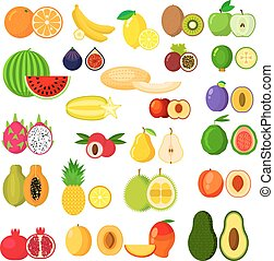 Flat whole and halves of fruits - Fruits icons with banana...