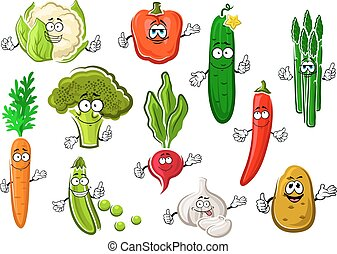 Healthful ripe farm vegetables set - Cartoon organic...