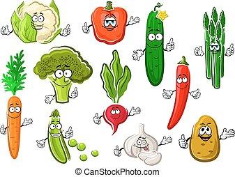 Healthful ripe farm vegetables set - Cartoon organic...