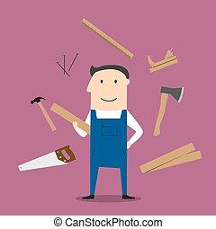 Carpenter man and professional tools - Carpenter profession...