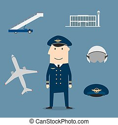 Pilot profession and aviation icons - Pilot profession icons...