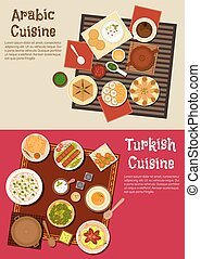 Arabian and turkish cuisine dishes - Traditional lunch...