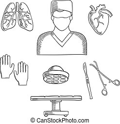 Surgeon profession objects and icons with doctor in mask,...