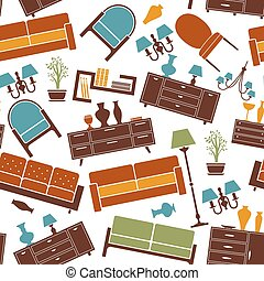 Interior furnitures seamless background pattern - Interior...