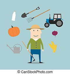 Farmer man and agriculture icons - Farmer profession icons...