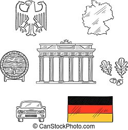 Germany national and travel icons