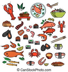 Seafood, fish and delicatessen icons of sushi and red...