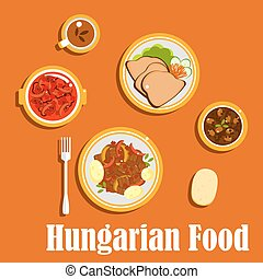Hungarian lunch dishes and desserts - Hungarian national...