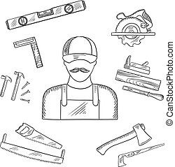 Carpenter and toolbox tools sketches with hammer, file, axe,...