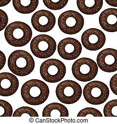 Pattern of chocolate donuts with sprinkles
