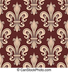 Brown and beige seamless fleur-de-lis pattern