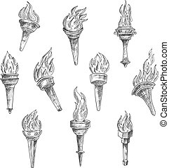 Burning torches in vintage sketch style - Antique burning...