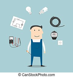 Electrician worker mwith devices and tools - Electrician...