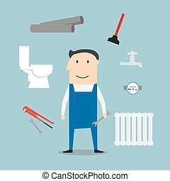 Plumber with tools and equipment