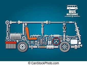 Bus silhouette with mechanical parts