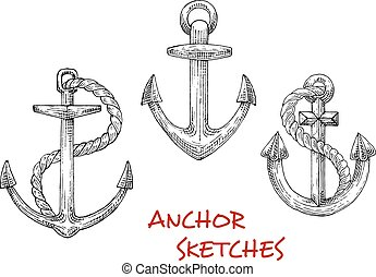 Vintage marine anchors with ropes - Old marine anchors...