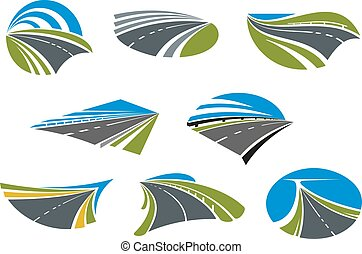 Roads and speed highways icons - Roads and modern speed...